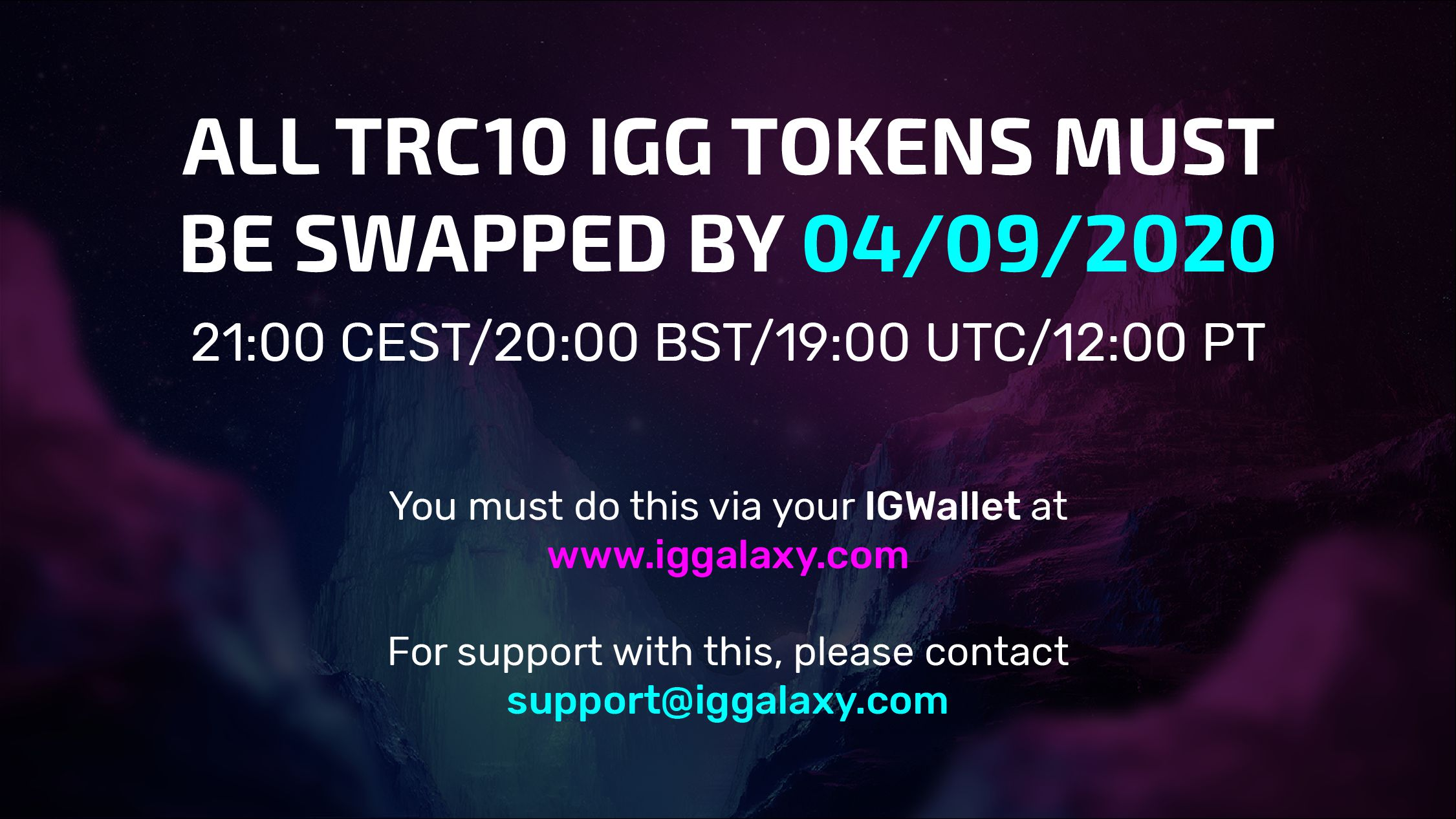 Convert your old TRC10 IGG tokens before the deadline!