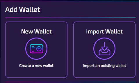 You can either create a new wallet or import an existing one!