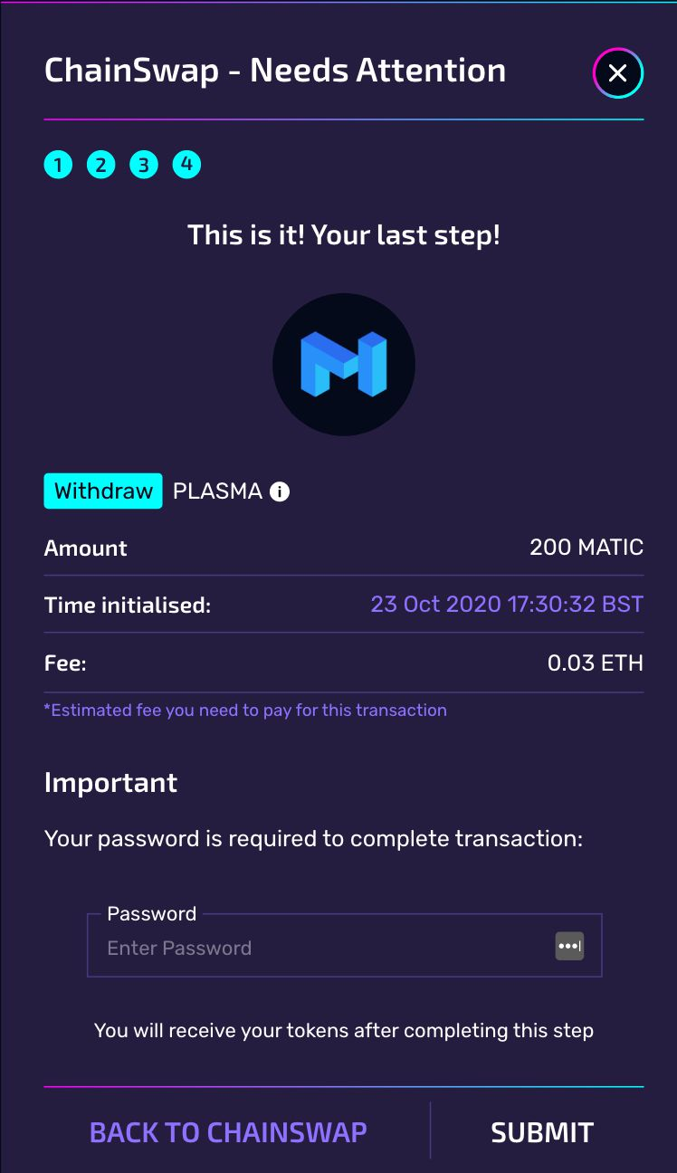 ChainSwap: Final step for Plasma withdrawals.