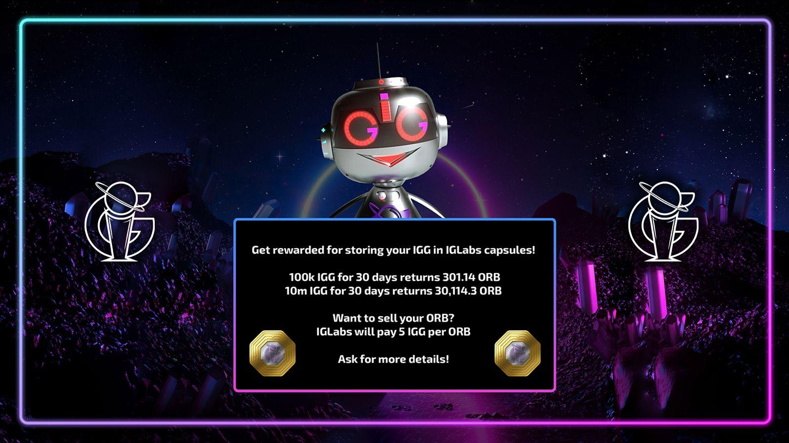 IGLabs will pay 5 IGG per ORB token!