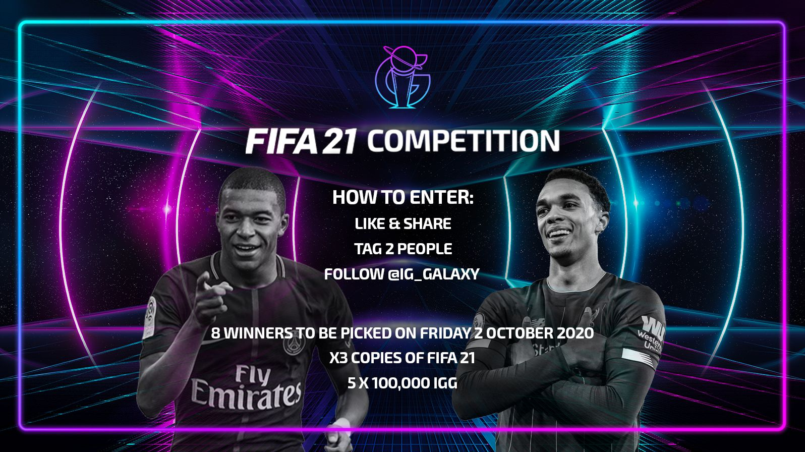 Be in with a chance of winning a free copy of FIFA 21 or 100,000 IGG!