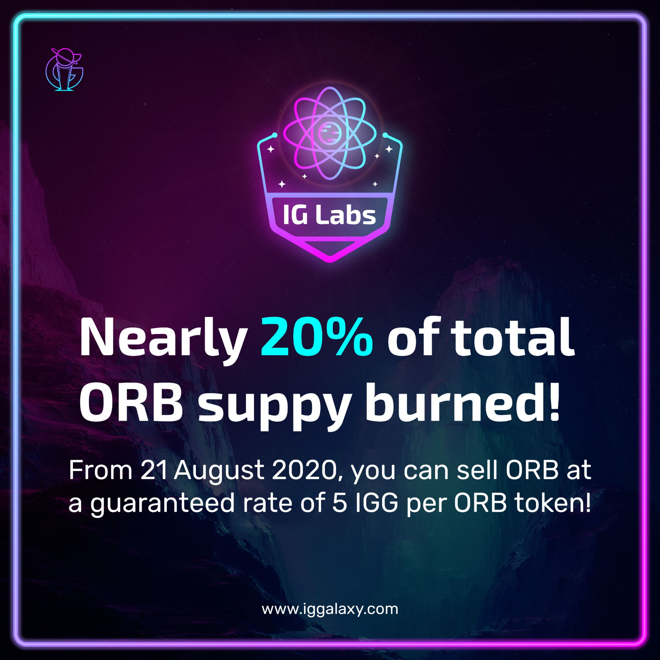 IGLabs Update: We'll pay 5 IGG per ORB from Friday 21 August 2020!