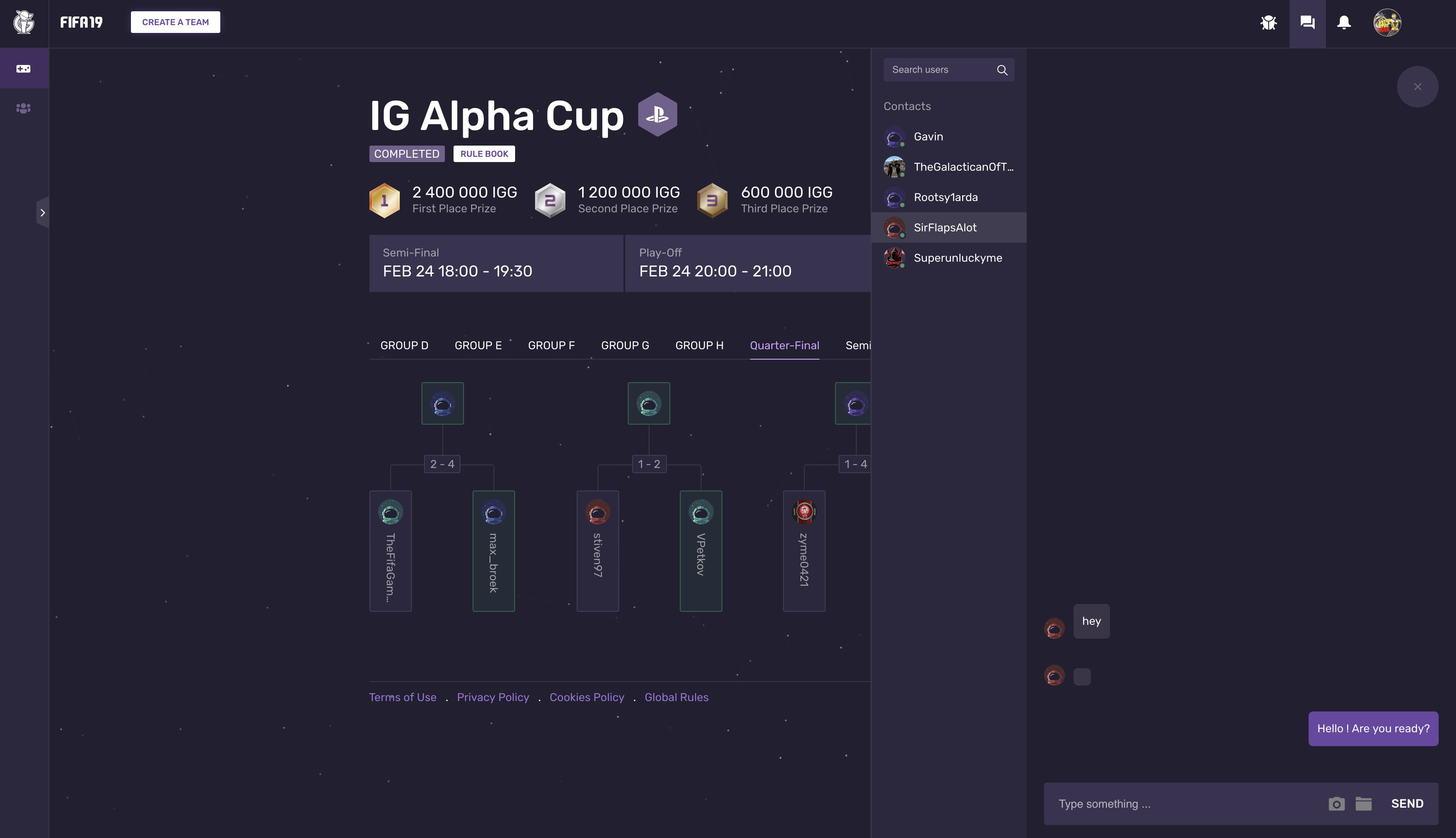 IG Alpha Cup tournament tree and user chat window.