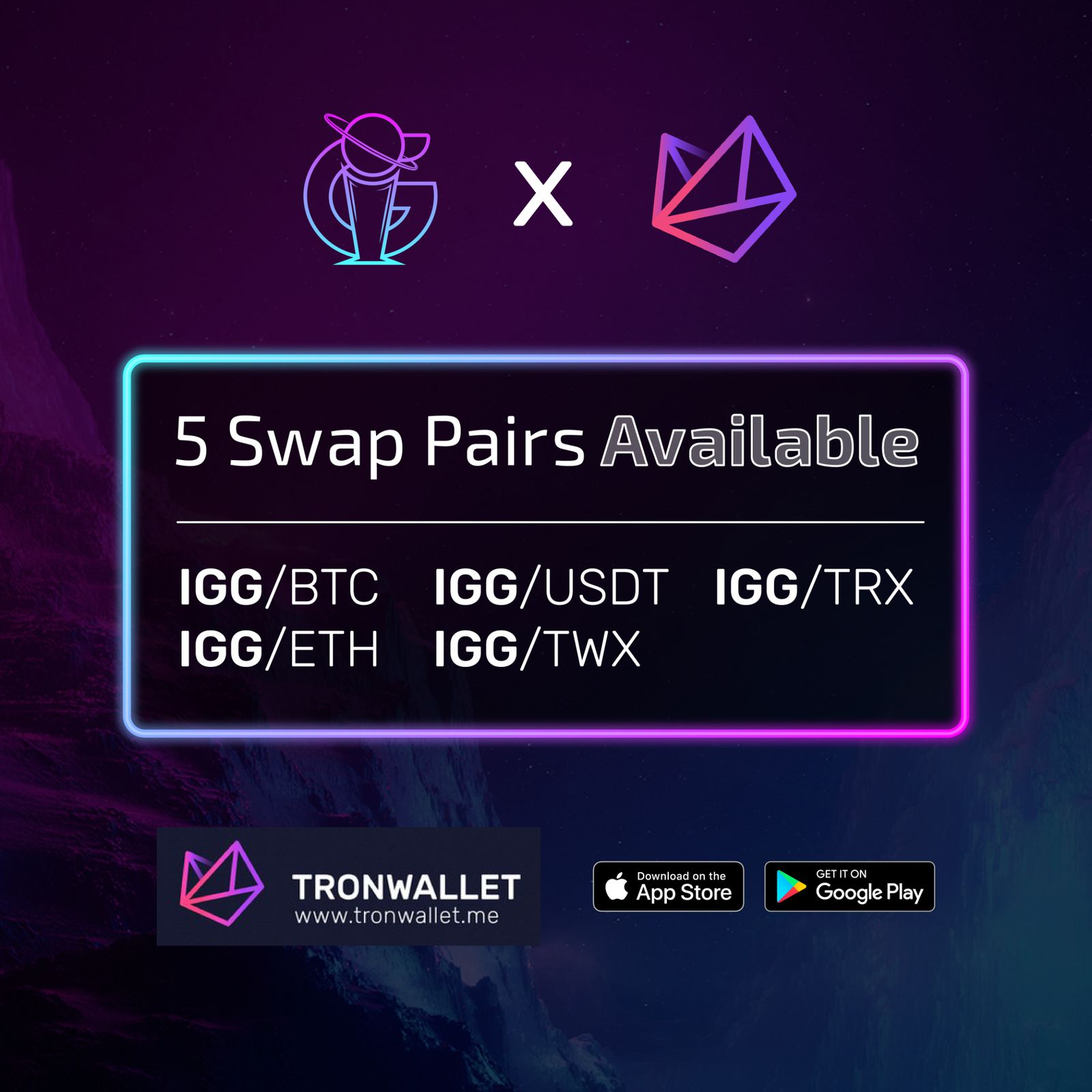 5 IGG Swap Pairs available now on TronWallet!