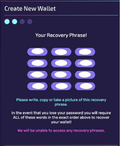 Please keep your recovery phrase safe!